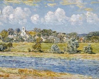 Landscape At Newfields, New Hampshire by Childe Hassam, in various sizes, Giclee Canvas Print