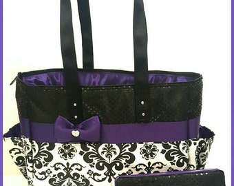 Damask Diaper Bag Set. Purple. Bow. Black Sequin. Matching Wipe Case. Tote. Purse. Personalized
