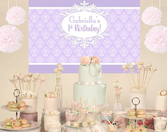 First Birthday Vintage Personalized Party Backdrop - Birthday Cake Table Backdrop Birthday- Baby Shower Backdrop