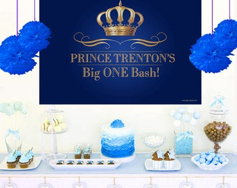 Royal Prince Personalized Backdrop - Birthday Cake Table Backdrop- Gold Crown Backdrop, Royal First Birthday, Royal Baby Shower Backdrop