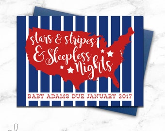 Stars and Stripes and Sleepless Nights | Patriotic Baby Shower Invitation | Pregnancy Announcement | July 4th Photo Prop | Baby Announcement
