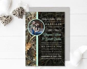 Camouflage Wedding Invitation   Camo and Mint Wedding   Printable Wedding Invitation   Realtree Camo   Country Wedding   Rustic Wedding