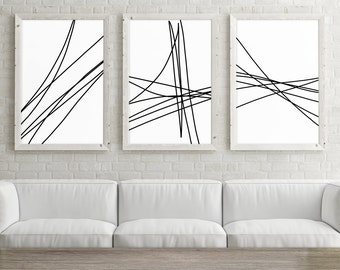 Set of 3 Large Printable Art, Trendy Wall Art Print, Minimalist Poster 24x36, Abstract Line Art, Black and White Print, Digital Download Art