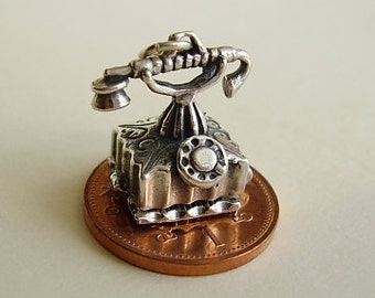 Sterling Silver Opening Telephone Charm