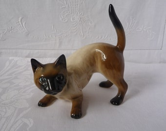 "Mid Century Retro Vintage Siamese Cat Figurine 5 1/2"" x 5 1/4"""