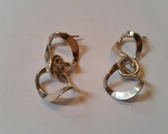 Sterling Silver Loop Earrings Dangle 925 Jewelry