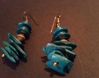 Vintage Turquoise Wood Earrings DIsc Dangle Costume Jewelry
