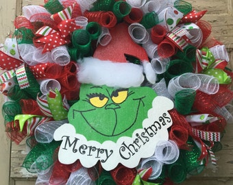 Ribbon/ Mesh Grinch Wreath