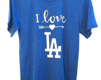 LA T-shirt. Love LA Unisex T-shirt. Dodgers T-shirt. Baseball T-shirt. Gift Friendly.
