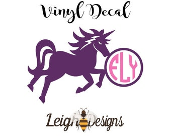 Unicorn Monogram Car Decal, Unicorn, Yeti Decal, Unicorn Monogram, Laptop Decal, Vinyl Monogram, Monogram Sticker, Unicorn Sticker