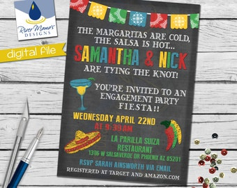 Printable Couples Shower Fiesta Invitations / Fiesta Engagement Party Invitations