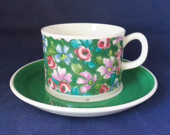 Gefle of Sweden, Grön Flox, coffee cup and Saucer.