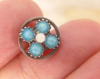 Antique Vintage Diminutive Tiny Turquoise Blue Flower Enamel Button