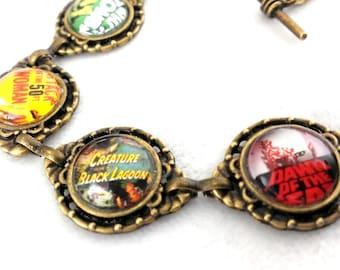 Retro movie poster bracelet- film jewellery - geek horror sci fi jewelry