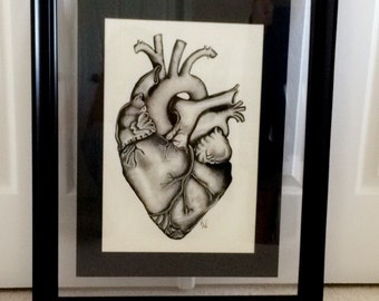 24x32 FRAMED Anatomical heart print