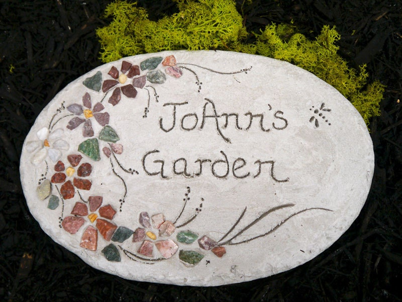 Personalized engraved stepping stone garden decor handmade for Personalized garden stone