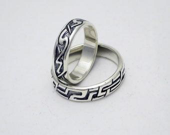 Slavic wedding bands set sterling silver 5 mm width