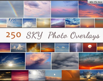 Sky Photo Overlays, clouds photoshop, sunset, sky texture, dramatic sky layers, clouds effect, realistic sky, nature sky, add-ons, bundle