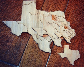 State of Texas Laser Cut Wood Shape