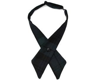 Black Watch Scottish Tartan Plaid Crossover Bow Tie 100% Wool Handmade in UK