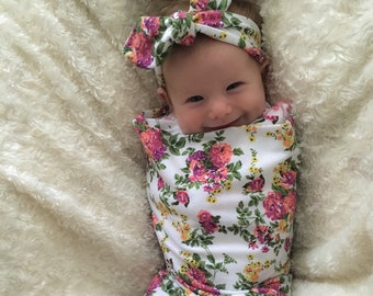 Swaddle Blanket WHITE floral Swaddle Set with Free Headband