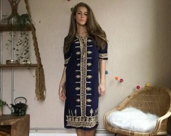 Morroccan Embroidered Kurta Bohemian embelished Indian Kurti Boho Dress