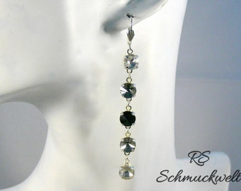 XL earrings Crystal long pendant earrings pendant earrings black Gothic fantasy new year party