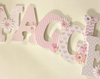 pink wood letters, wall letters for girls, baby nursery letters, letters with butterflies, hanging decorative letters, custom letters