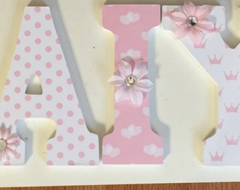 pink letters for princess girl, wood letters, letters for hanging in baby nursery, princess crowns hanging letters, decorative letters