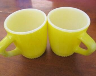 Set of 2 Yellow FIRE KING Milk Glass Mugs