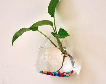 Heart Figures Water Planting Glass Decorative Wall Hanging Vase