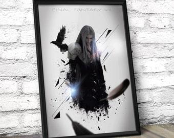 Final Fantasy VII poster - Final Fantasy Inspired Sephiroth Poster Print - Home Decor Wall Art