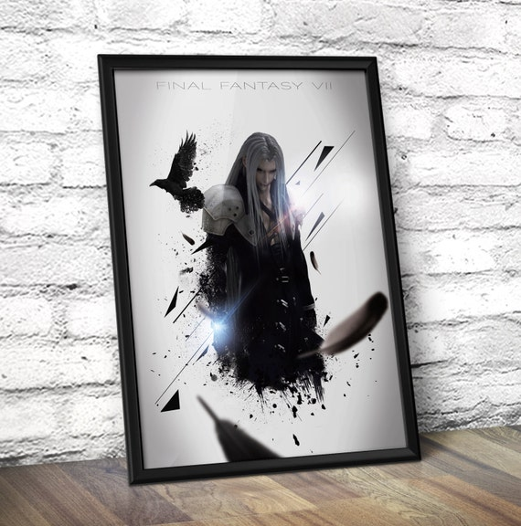 Final Fantasy VII poster - Final Fantasy Inspired Sephiroth Poster Print - Home Decor Wall Art