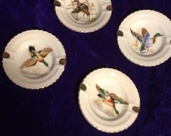Set of 4 Mallard Duck Ashtrays
