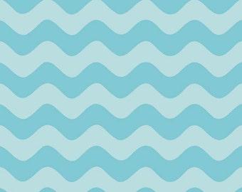Riley Blake wave chevron aqua tone on tone fabric