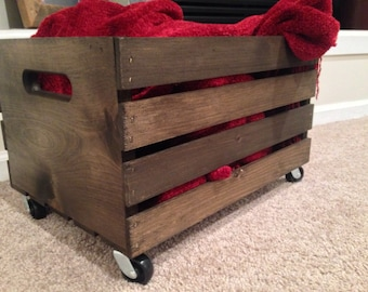 Wood Wine Crate with Wheels | Industrial Crate | Farmhouse Storage