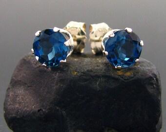 London topaz studs, topaz stud earrings, London blue topaz earrings, london blue topaz stud earrings, london blue topaz round 5 mm