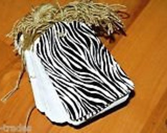 LOT 100 LARGE Scalloped ZEBRA Print Paper Merchandise Price Tags with String