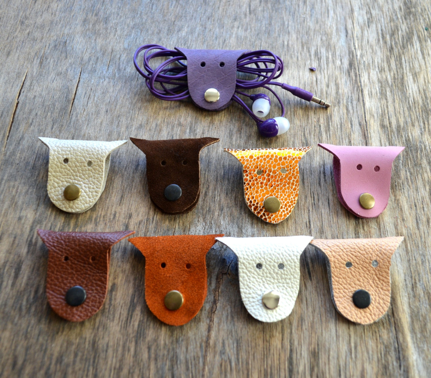 Cord Holders: Cord Holder Cord Organizer Earbud Holder Leather By