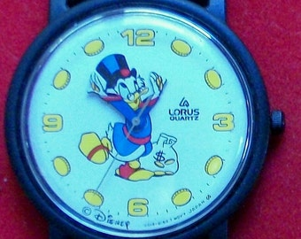 Disney Scrooge McScrooge Watch! By Lorus! Coins Mark the Numbers On the Dial! New!
