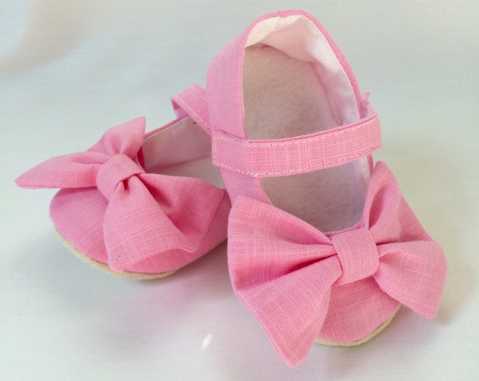 Pink linen Mary Jane soft sole baby girl shoes, with over sized bow