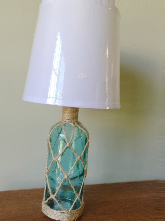 beach house nautical teal green glass bottle table lamp desk. Black Bedroom Furniture Sets. Home Design Ideas
