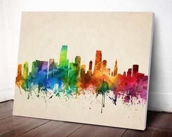 Miami Skyline Canvas Print, Miami Cityscape, Miami Art Print, Home Decor, Gift Idea, USFLMI05C