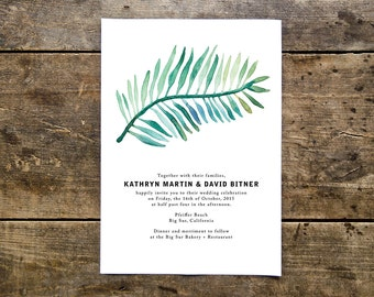 tropical modern font wedding invitation // THE TROPICS // green palm tree leaf watercolor // destination beach bohemian wedding // DEPOSIT