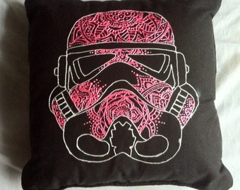 Handmade Pink and White Stormtrooper from Star Wars Mandala Pillow geeky Decor