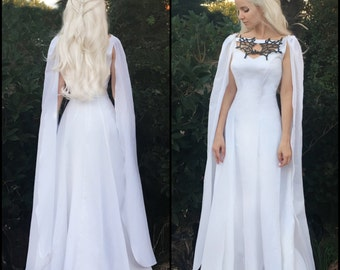 Game of Thrones Costume - Daenerys Meereen Dress - White Dragon Necklace Gown + Cape - Cosplay Costume -  Sale