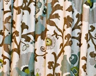 Floral Curtains Suzani Curtains Medallion Curtains Braemore Silsila Rhinestone Panels  Decorative Green Grey Brown Curtains ONE PAIR