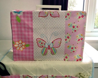 Clarke & Clarke Butterfly Stripe Shabby Chic Sewing Machine Cover/Dust Cover