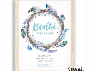 Boho Boy Feather Wreath Watercolour Watercolor Nursery Birth Stat Print