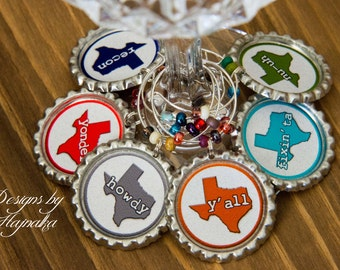 Texas, Wine charms, foodie gift, party favor, funny wine charms, housewarming gift, birthday wine, anniversary gift, birthday, wine